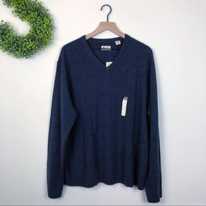 NWT $60 Haggar Blue Cable Knit V Neck Pullover XXL